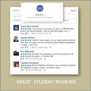 screen capture of review masters testimonials